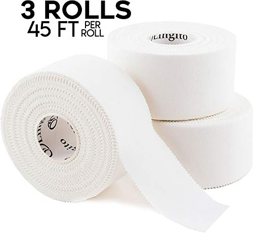 Athletic Sports Tape (White) 45ft | Strong Easy Tear |Perfect for Bats/Lacrosse/Hockey Sticks/Climbers and Boxing (3 Pack) (Pole Vault Grip Tape)