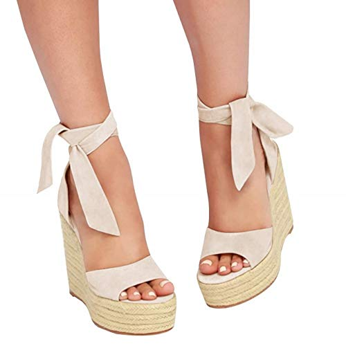 (Liyuandian Womens Platform Espadrille Wedges Open Toe High Heel Sandals with Ankle Strap Buckle Up Shoes (8 M US, B Beige) )