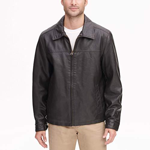 Dockers Men's James Classic Faux Leather Laydown Collar (Standard & Big-Tall Sizes) Jacket, Dark Brown, XL (Leather Collar Jacket For Men)