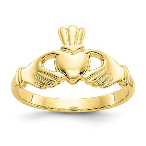ICE CARATS 10k Yellow Gold Irish Claddagh Celtic Knot Band Ring Size 6.50 Fine Jewelry Gift Set For Women Heart