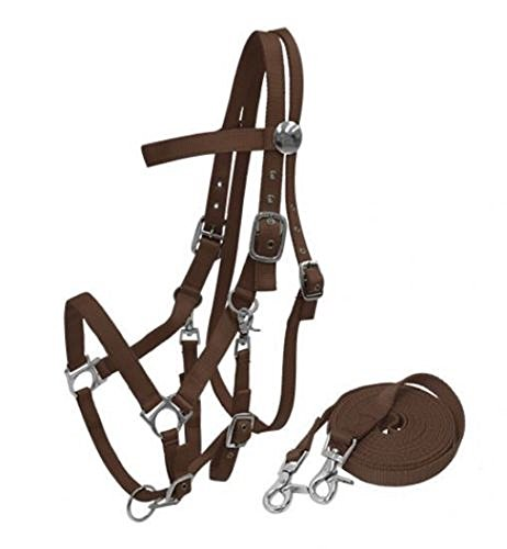 - Heavy Duty Soft Nylon Horse size Halter Browband Bridle Combo Trigger Snaps Cheeks & Reins (Brown)