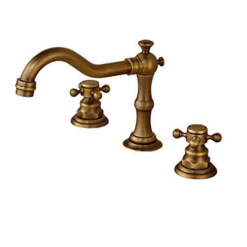 Rozin Antique Brass Widespread 3 Holes Bathroom Sink Faucet Dual Cross Knobs Mixer Tap