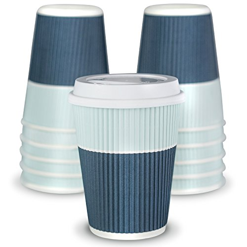 Premium Coffee Cups With Lids - (Set of 90) Enjoy Your Favorite Hot and Cold Beverages To Go In Our Sturdy & Durable Disposable Cups - These Insulated Paper Cups are Perfect For All Parties and Events