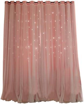 VORCOOL tenda OCCULTANT di stelle cava con doppia garza per salotto camera (rosa)