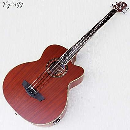 Guitarra acústica eléctrica de bajo, 43 pulgadas, 4 cuerdas, 24 ...