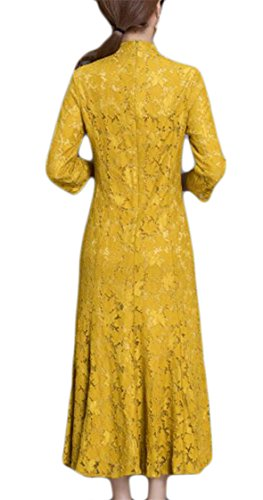 Embroidery Women's Chinese Floral Style Sleeve Yellow Long Jaycargogo Floral Dress Elegant Lace 0xdnq7Sw