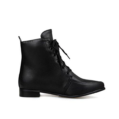 Amoonyfashion Dames Bezaaid Pu Lage Hakken Lace Up Puntige Gesloten Neus Laarzen Zwart