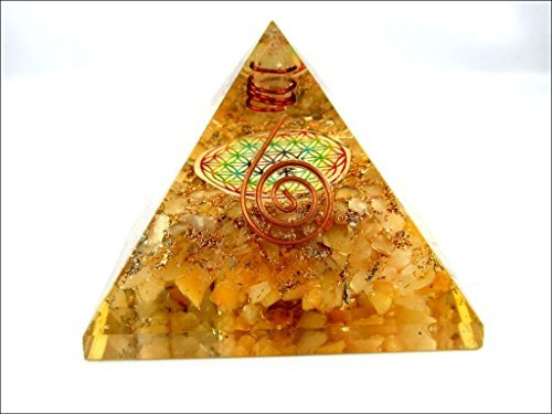 Jet Golden Quartz Flower of Life Orgone Pyramid Christmas Tower Buster Piezo Electric EMF Protection Generator Frequency Ions Tested Cloud Chem Buster