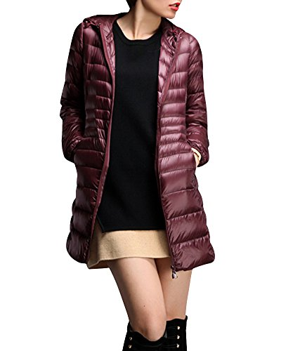cheap for discount 88cd0 32cb3 Chaud Légère Vin Femme rouge Doudoune Ultra Capuche Veste Longues Manteau  Compressible Blouson À BqHq06wa