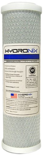 "Hydronix SMCB-2510 NSF Carbon Block Filter 2.5"" OD X 9 7/8"" Length, 0.5 Micron"