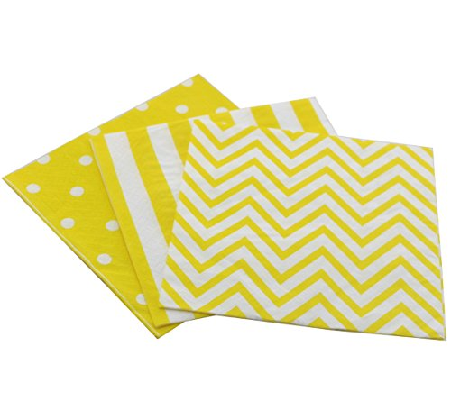 Youmewell Disposable Striped Chevron Polka Dot Yellow Paper Party Napkins 60 Count