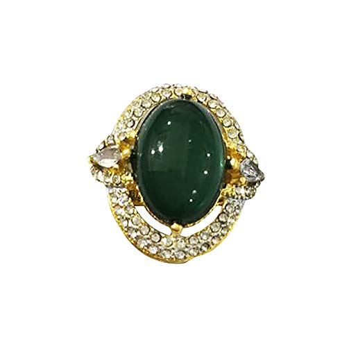 (CHoppyWAVE Ring Women Vintage Rhinestone Inlaid Faux Emerald Ring Wedding Party Jewelry Gift - Green US 8)
