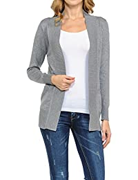 Women's Classic Casual Solid Open Front Sweater Knit Cardigan