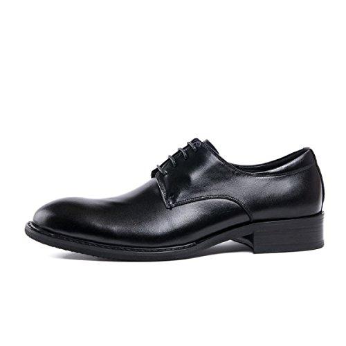 GRRONG Zapatos De Cuero De Los Hombres Juegos De Negocio Del Cuero Desgaste Bajo Para Ayudar A Los Zapatos Black