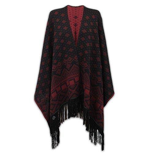 Nuevo para mujer azteca de punto patrón borla superior capa Poncho asimétrico Wrap Cardigan chal Wine