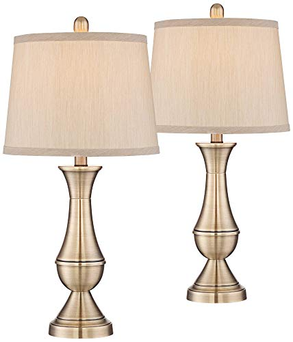 (Becky Traditional Table Lamps Set of 2 Antique Brass Metal Beige Drum Shade for Living Room Family Bedroom Bedside Office - Regency Hill)