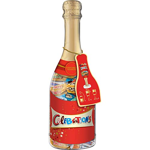 CELEBRATIONS Chocolate Variety Mix Candy Bars in a 10.9-Ounce Christmas Gift Champagne Bottle