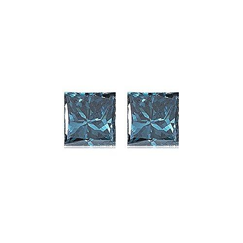 (Mysticdrop 0.24 Cts SI1 Princess (2 pcs) Loose Teal Blue Green Diamonds)