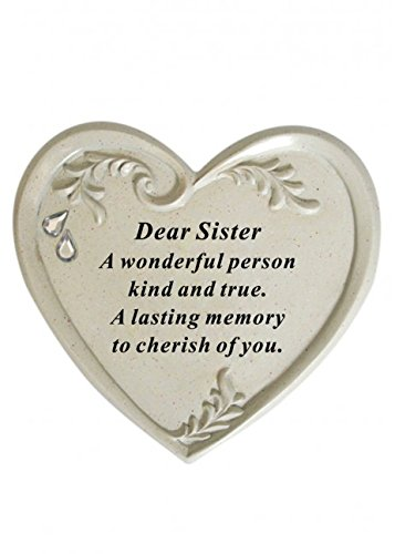 Diamante Heart Shape Memorial Plaque - Dear Sister David Fischhoff