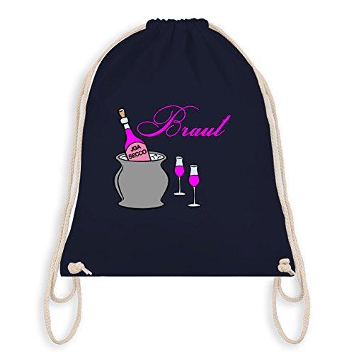 JGA Junggesellinnenabschied - Braut Sekt Party - Turnbeutel I Gym Bag Navy Blau