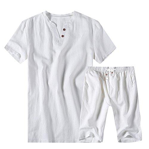 ASALI Men's Linen Summer Beach Sweatshirt Set for Short Pants White L #17 ()