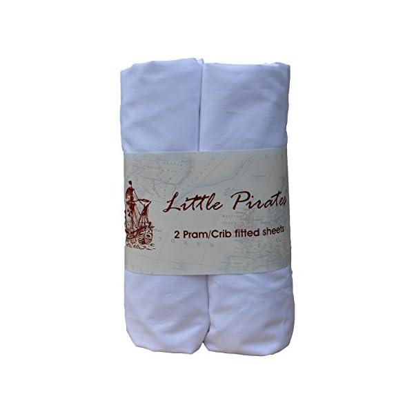 Little Pirates - Lot de 2draps-housse luxueux pour bébé, 100% coton, brossé blanc, 40x 90cm 1
