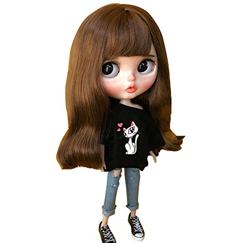 Doublewood 1/6 Fashion Doll Clothing Handmade Casual Carton T-Shirt + Jeans/Pants Replacement for Blythe Doll, Dress Up Accessories Doll Clothes Compatible with Blythe ICY Pullip Doll (Black)