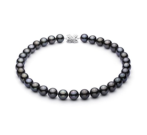 PearlsOnly - Noir 12-12.89mm AAA-qualité de Tahiti 585/1000 Or Blanc-Collier de perles