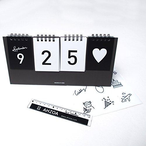 I D Day Calendar with AHZOA Mini Ruler, Countdown Standing Desk Calendar, Reversible Tent Type, Score Board Style (Black)