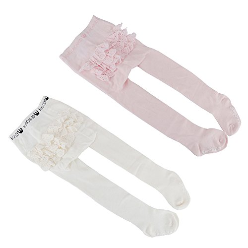 Ehdching 2 Pack Lovely Baby Infant Toddler Girls Anti-Slip Ruffle Rhumba Tights(white pink) (white pink, 0-24 months) Ruffle Rhumba Tights