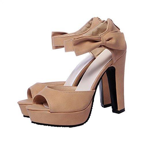 AalarDom Mujer Puntera Abierta Tacón Alto Sólido Sandalias de vestir Albaricoque