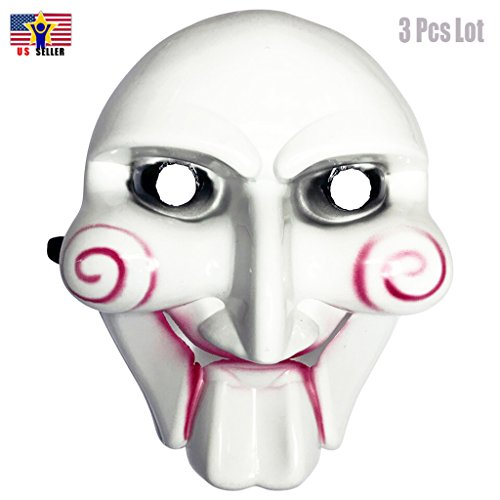 Jigsaw Puppet Costumes (3 Pcs Lot Jigsaw Saw Billy Puppet Mask Halloween Masquerade Costume Party White)