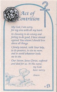 photograph about Act of Contrition Prayer Printable named Pewter Entire Reconciliation Pin With Act Of Contrition Prayer