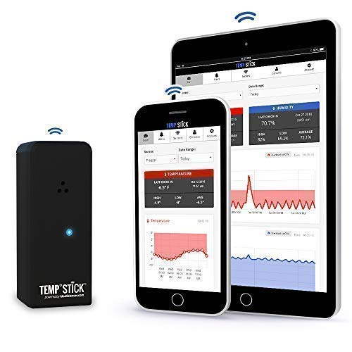 Temp Stick Wireless Remote Temperature & Humidity Sensor. Connects Directly to WiFi. Free 24/7 Monitoring, Alerts & Historical Data. Free iPhone/Android Apps, Monitor from Anywhere, Anytime! -Black (Best App For Room Temperature)