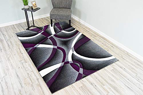 PlanetRugs Premium 3D Effect Hand Carved Thick Modern Contemporary Abstract Area Rug Design 2305 Purple 2'7''x4' (Gray Rug Purple Area And)