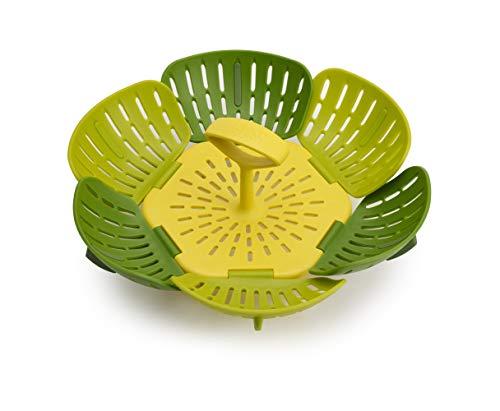 Joseph Joseph 45030 Bloom Steamer Basket Folding Non-Scratch BPA-Free Plastic and Silicone, Green