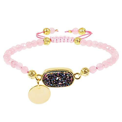 TUMBEELLUWA Beads Bracelets Faceted Stone 4mm Healing Crystal Bracelet Oblong Shape Druzy Adjustable Handmade Jewelry for Women,Rose Quartz