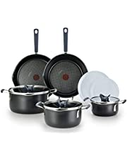 T-fal All-in-One Dishwasher Safe Cookware Set, Black, 10-Piece, B210SA