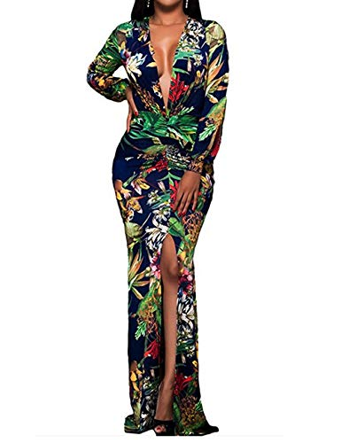 Womens Long Maxi Dresses Long Sleeve Sexy Bodycon Floral Formal Club Evening Ancy Party Dresses 2XL
