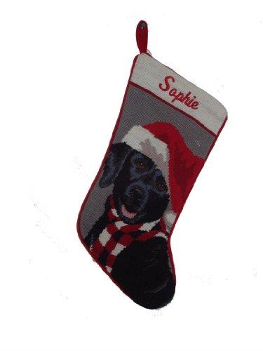 (Needlepoint Christmas Dog Stocking-Black Lab)
