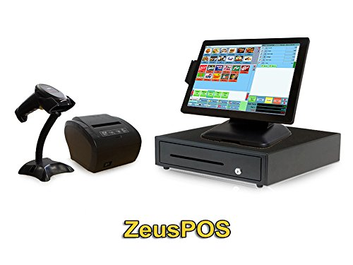 Retail Point of Sale System - Beginner POS System Includes Touchscreen PC,  POS Software (Zeus POS), Receipt Printer, Scanner, Cash Drawer, and Credit