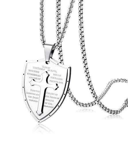 Shield 5/8' Jewelry Pendant - Finrezio Shield Armor of God Ephesians 6:16-17, Faith Cross Stainless Steel Pendant Necklace (Silver Tone)