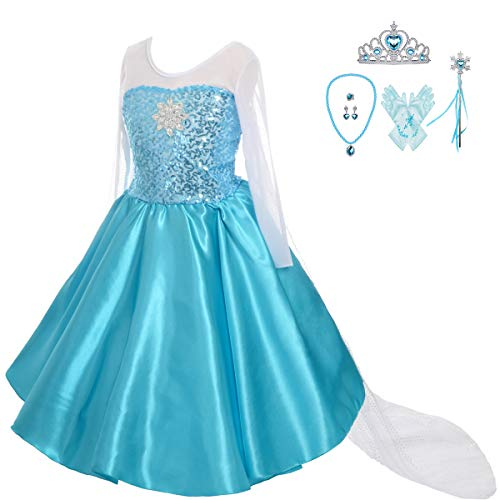 Lito Angels Girls' Princess Elsa Dress Up Costumes Snow Queen Dress Halloween Costume with Accessories Size 5 ()
