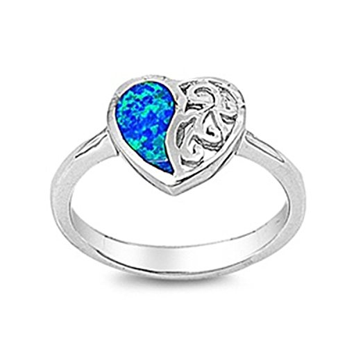- 925 Sterling Silver Promise Ring Lab Blue Opal Broken Heart Engagement Ring