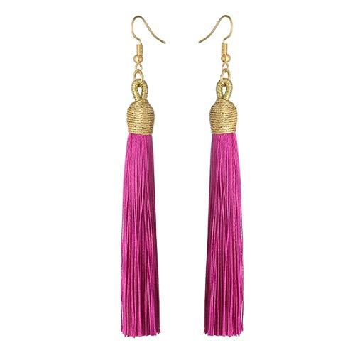 Boho Thread Long Tassel Dangle Drop Fringe Earrings Silk Fabric Vintage Charms Eardrop (Rose)
