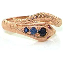 14k Rose Gold Natural Sapphire and Ruby Womens Band Ring - Sizes 4 to 12 Available