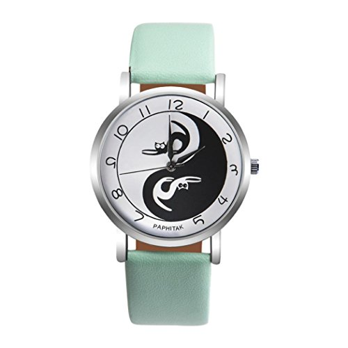 Charm Cat Yin and Yang Pattern Rounded Quartz Wrist Watch Contrast Leather Band Analog Dress Watch (H) ()