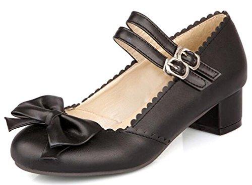 Idifu Womens Sweet Bows Mid Chunky Heels Two Straps Gesp Mary-jane Pumps Schoenen Zwart