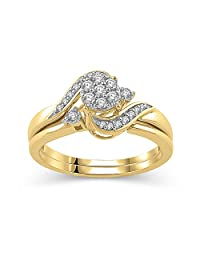 1/4 Cttw composite Diamond Wrap Bypass Engagement Bridal Ring Set in 10K Yellow Gold (IJ/I3)