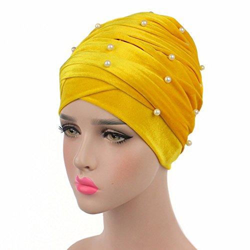 Helisopus Women's Luxury Velvet Turban Headband Pearl Pleated Long Head Wrap Hijab Tube Scarf